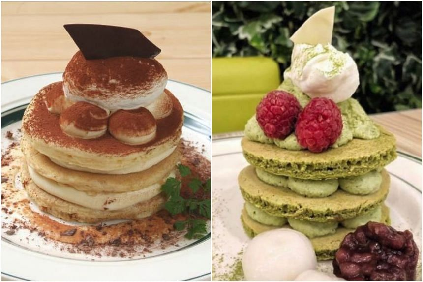 Tiramisu and Azuki Matcha Pancakes served at Gram Cafe and Pancakes in San Francisco, California.
