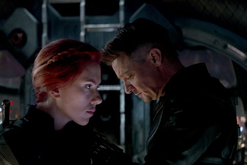 Scarlett Johansson as Black Widow and Jeremy Renner as Hawkeye in Avengers: Endgame.