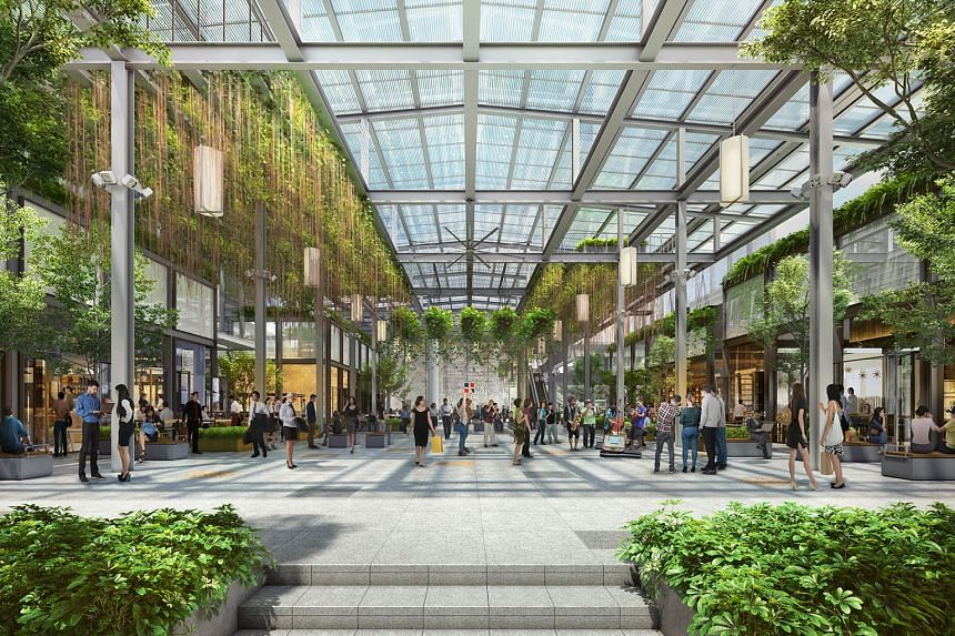 An artist's impression of Guoco Midtown Market Place. The mixed-use Guoco Midtown project offers a leasing concept in which businesses can choose to expand or contract teams without moving or renovating their main offices during the lease.