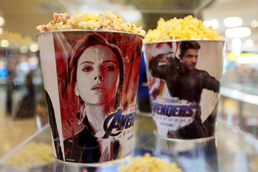 Popcorn buckets with Avengers images are seen during an early premiere of Avengers: Endgame in La Paz, Bolivia.