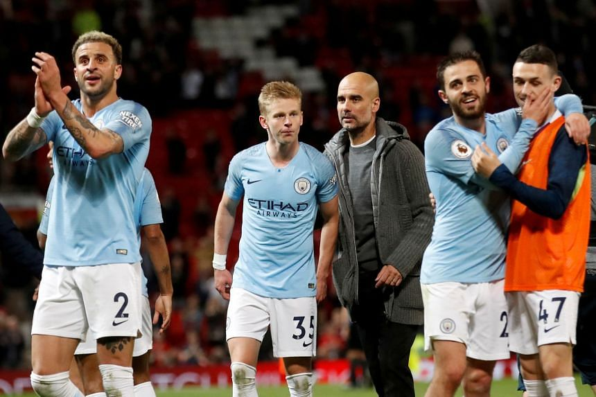 Guardiola and Manchester City players after their match against Manchester United on  April 24, 2019.