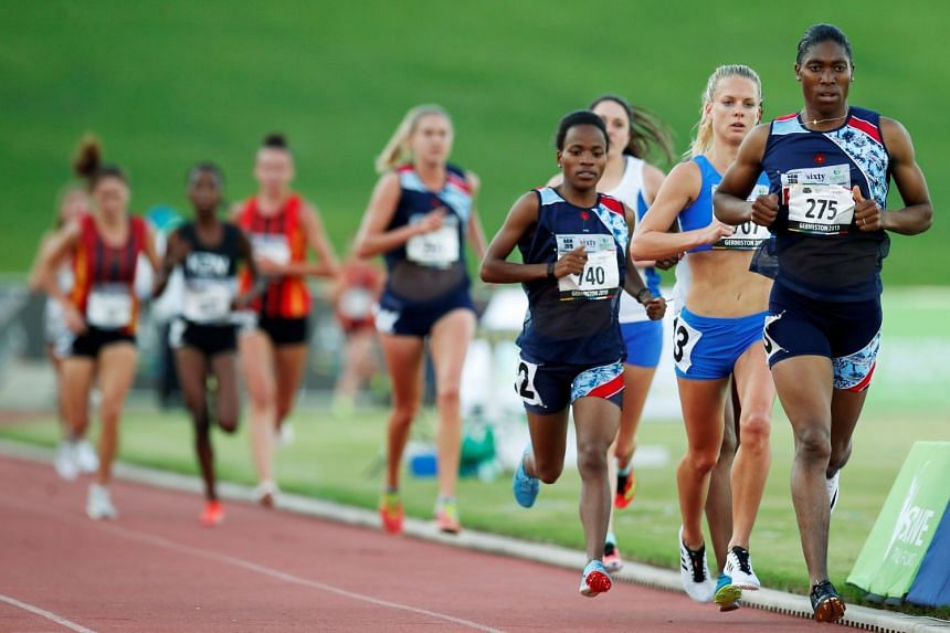 Semenya takes part in the 5,000m run at the South African Championships.