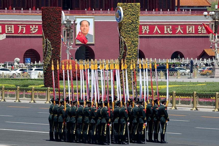 Honour guards all set for a welcoming ceremony for Mongolia's President Khaltmaagiin Battulga at the Great Hall of the People in Beijing yesterday, as the Belt and Road Forum kicked off. Nearly 40 heads of state and government, including Prime Minist
