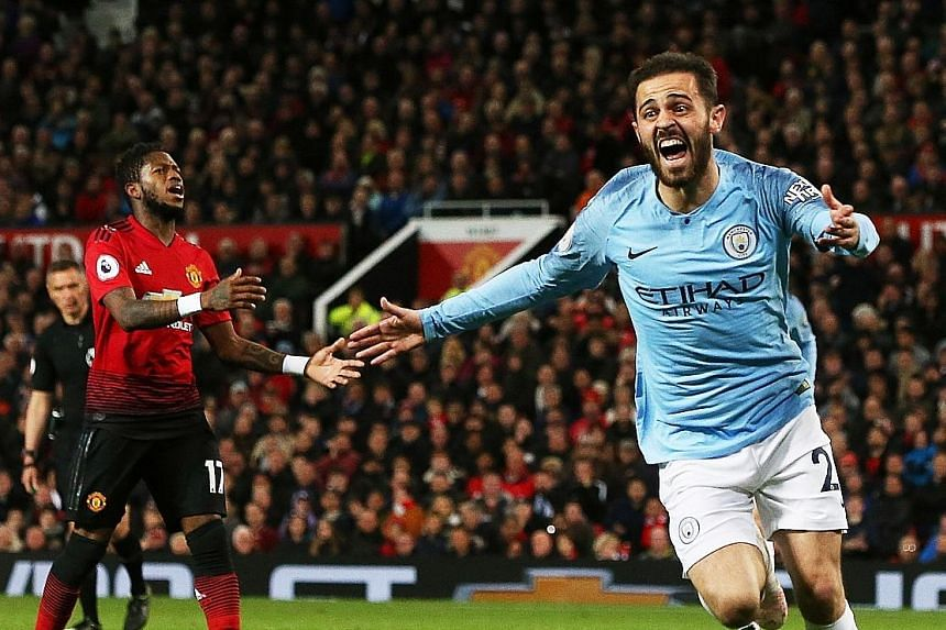 Liverpool are a point behind Manchester City, who beat Manchester United 2-0 on Wednesday with Bernardo Silva (above) scoring the first goal.