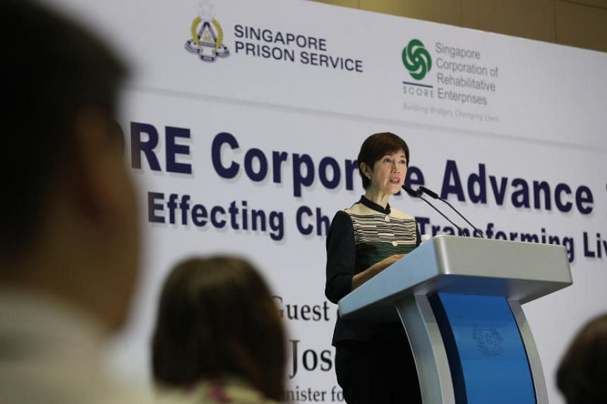 Minister for Manpower and Second Minister for Home Affairs Josephine Teo speaking at SPS-SCORE Corporate Advance 2019 at Max Atria on April 26, 2019.