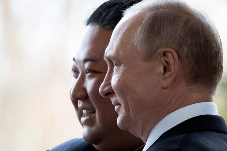 Russian President Vladimir Putin with North Korean leader Kim Jong Un at the Far Eastern Federal University campus on Russky island, in the Russian port of Vladivostok, on April 25, 2019.