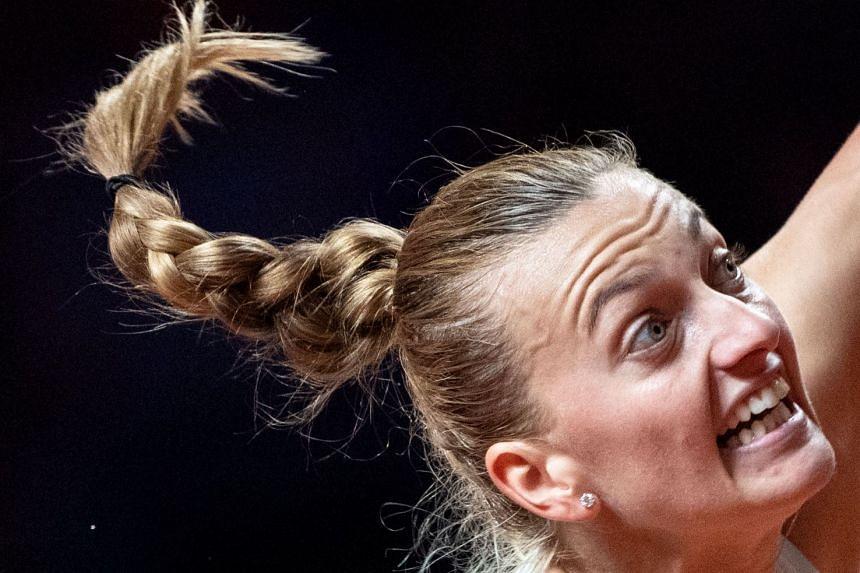 Kvitova in action against Latvia's Anastasija Sevastova.