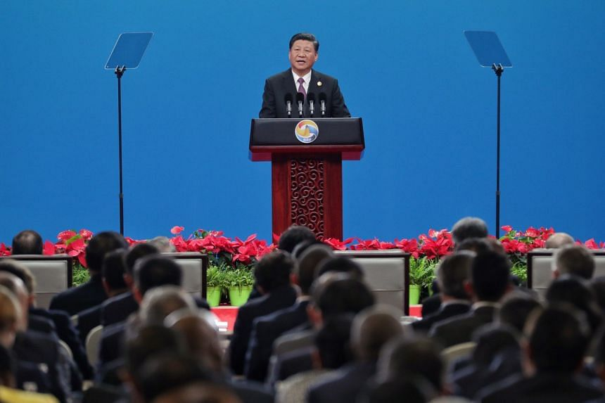 China's President Xi Jinping speaking during the opening ceremony of the 2nd Belt and Road Forum for International Cooperation at China National Convention Centre on April 26, 2019.