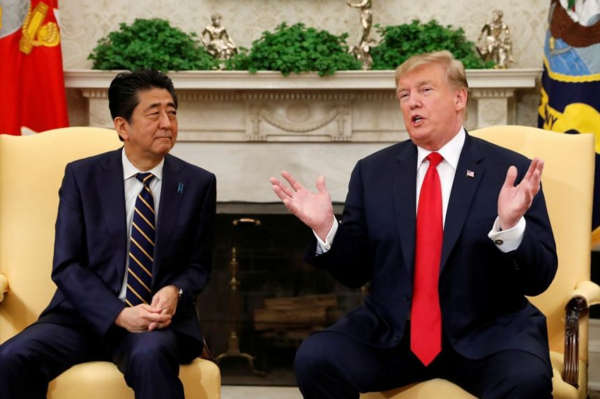 US President Donald Trump meets Japanese Prime Minister Shinzo Abe at the White House.