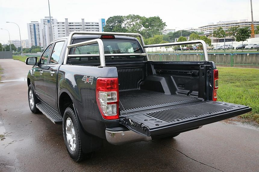 The Ford Ranger measures almost 5.4m long and 1.9m tall, with a 1,180-litre open cargo area.