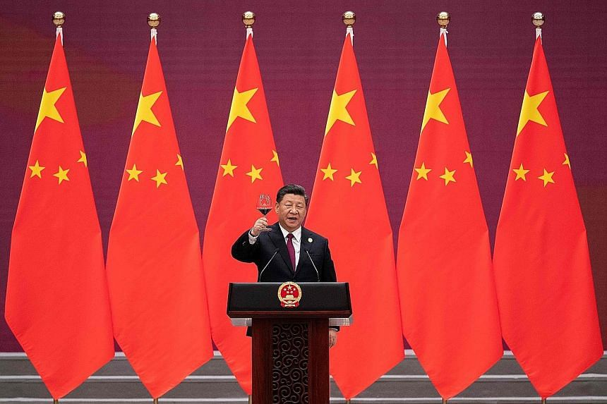 Chinese President Xi Jinping at the welcome banquet for leaders attending the Belt and Road Forum, at the Great Hall of the People in Beijing yesterday.