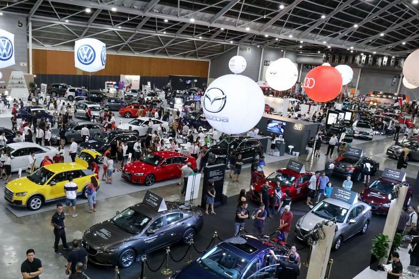 Visitors checking out the numerous cars on display at the Cars@Expo automobile show on April 27, 2019. The two-day show, which began on April 27, features more than 40 exhibitor booths, with new cars from major brands, as well as used cars and auto a