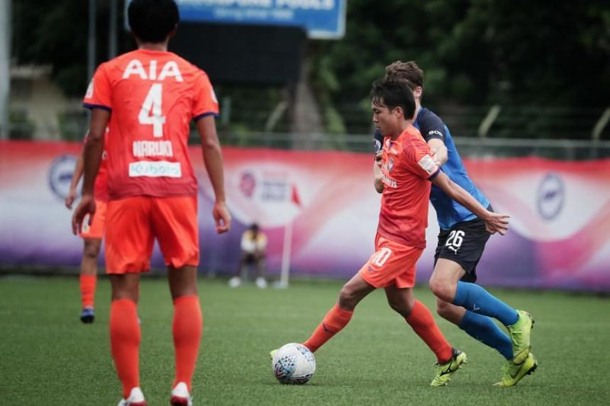 Albirex Niigata's Kyoga Nakamura (second from right) scored a brace as the White Swans thrashed Home United 4-0 on April 27, 2019.