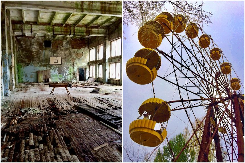 A vaulting Horse in an abandoned gym and a ferris wheel in Chernobyl.