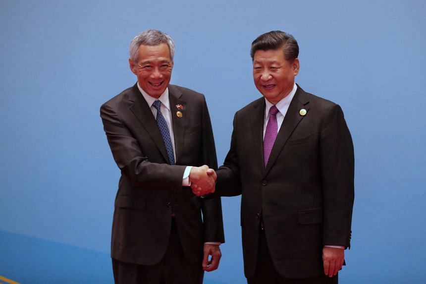 Prime Minister Lee Hsien Loong and Chinese President Xi Jinping at the Belt and Road Forum.