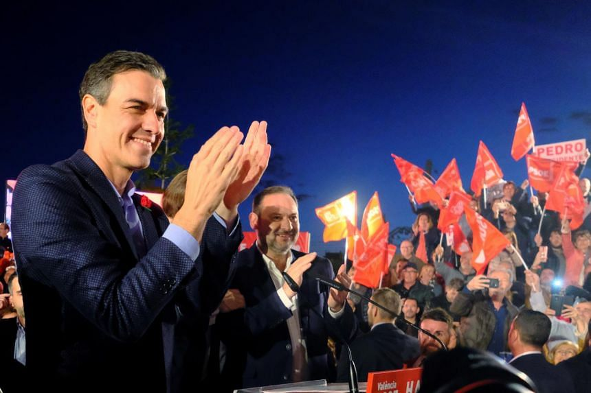 Spain's Prime Minister and Socialist Workers' Party candidate Pedro Sanchez attends an electoral campaign closing rally in Valencia, Spain on April 26, 2019.