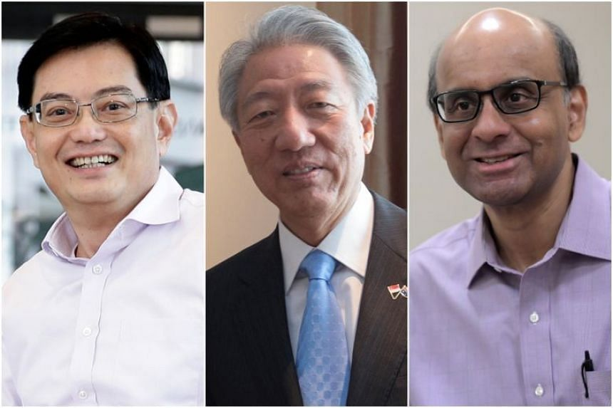 (From left) Finance Minister Heng Swee Keat will be promoted to Deputy Prime Minister, Mr Teo Chee Hean, 64, and Mr Tharman Shanmugaratnam, 62, will become Senior Ministers and remain in Cabinet.
