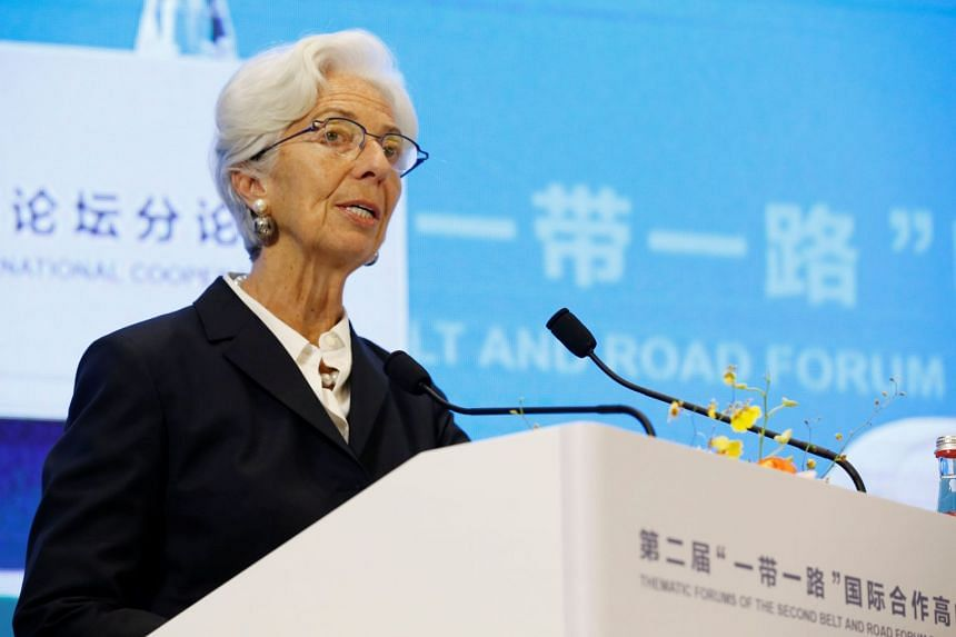 International Monetary Fund Managing Director Christine Lagarde attends a thematic forum of the second Belt and Road Forum for international cooperation in Beijing, China, on April 25, 2019.