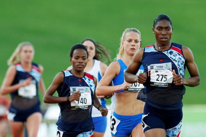 Double 800m Olympic champion Caster Semenya leading the pack in the 5,000m race at the South African Championships on Thursday.