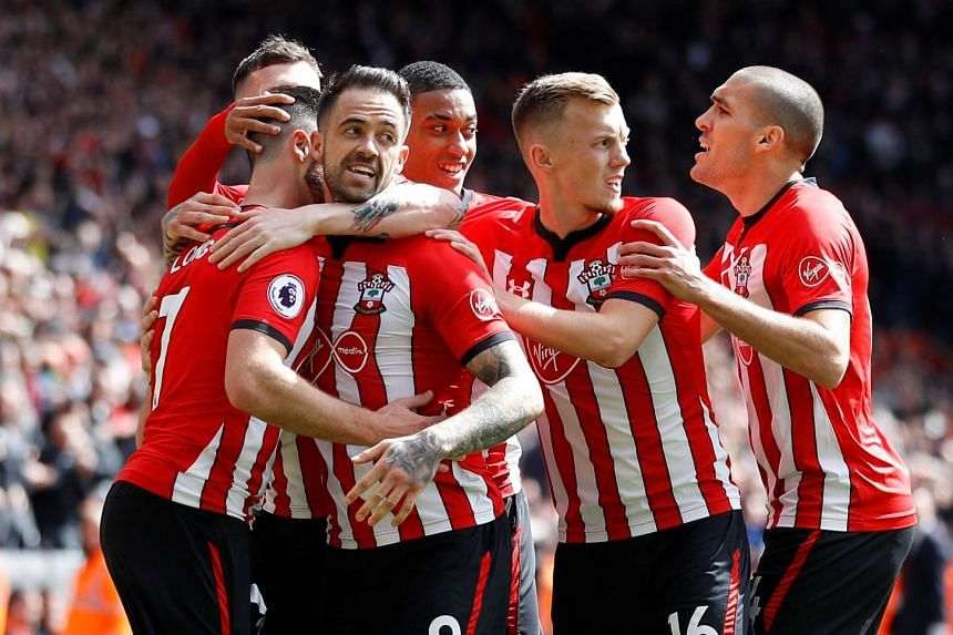 Southampton's Shane Long celebrates scoring their first goal with Danny Ings, James Ward-Prowse and team mates.