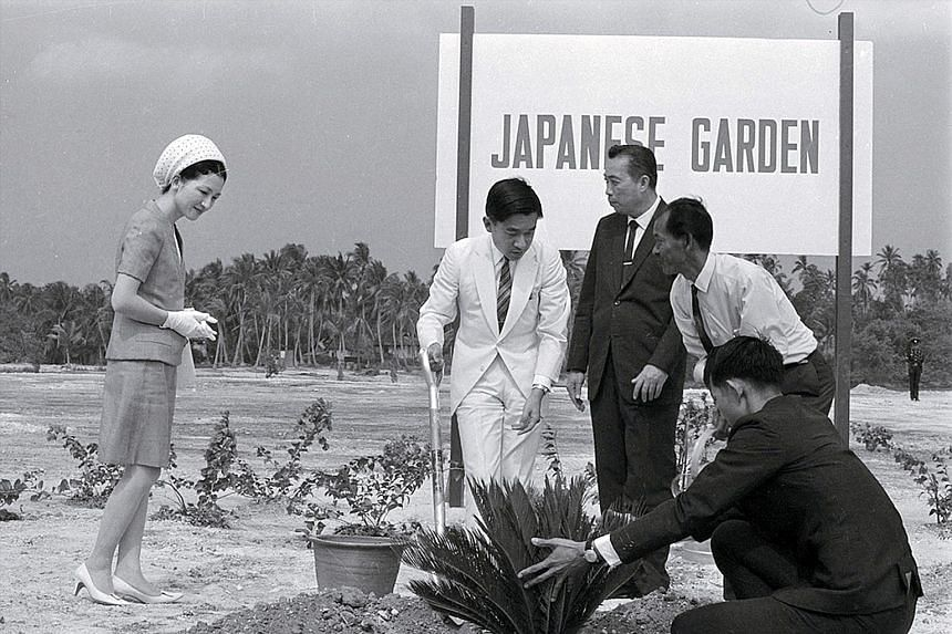 Left: Japan's then Crown Prince Akihito (second from left) and Crown Princess Michiko planting a tree at the Japanese Garden in 1970. Right: The two king sago palm trees that were planted by the couple standing tall today.