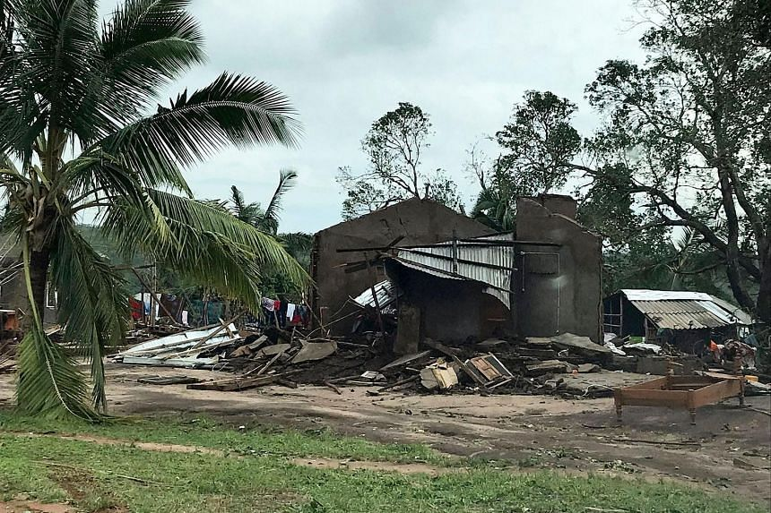 A destroyed house in Mozambique's Macomia district on Friday, after a cyclone battered the southern African nation. Heavy rain pounded northern Mozambique yesterday, fuelling fears of flooding two days after Cyclone Kenneth smashed into the coast, fl
