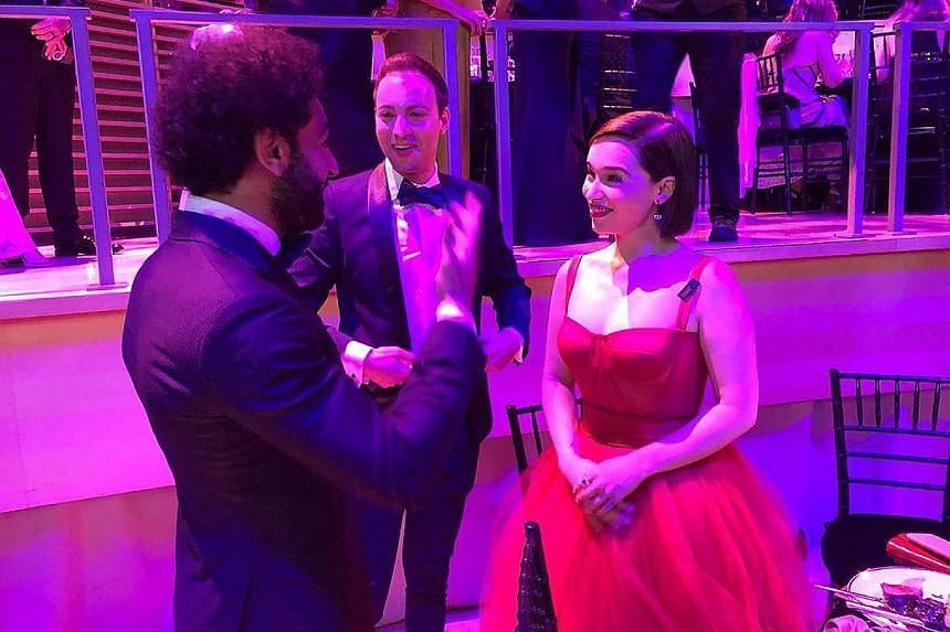 """HOT SHOT """"The mother of dragons herself..."""" Mohamed Salah, among Time magazine's 100 Most Influential People, meets Game of Thrones star Emilia Clarke at the Time 100 Gala in New York. THROWBACK Women's world No. 1 shuttler Tai Tzu-ying, who won the"""