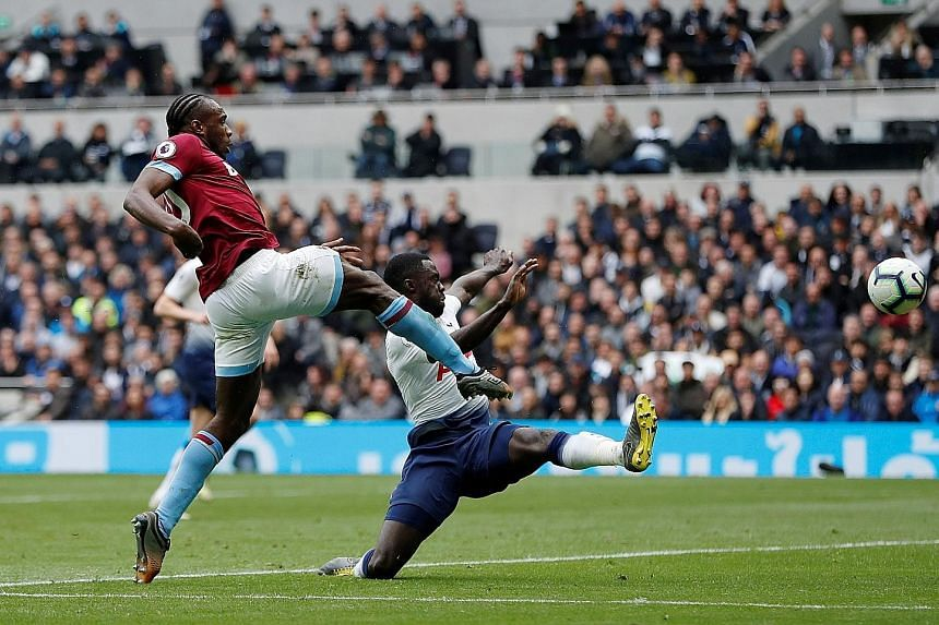 West Ham's Michail Antonio scoring the first goal by a visiting player at the Tottenham Hotspur Stadium in their 1-0 win yesterday.