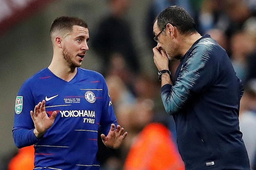 Chelsea manager Maurizio Sarri needs time and squad reinforcements, with Eden Hazard (left) attracting interest from Real Madrid.