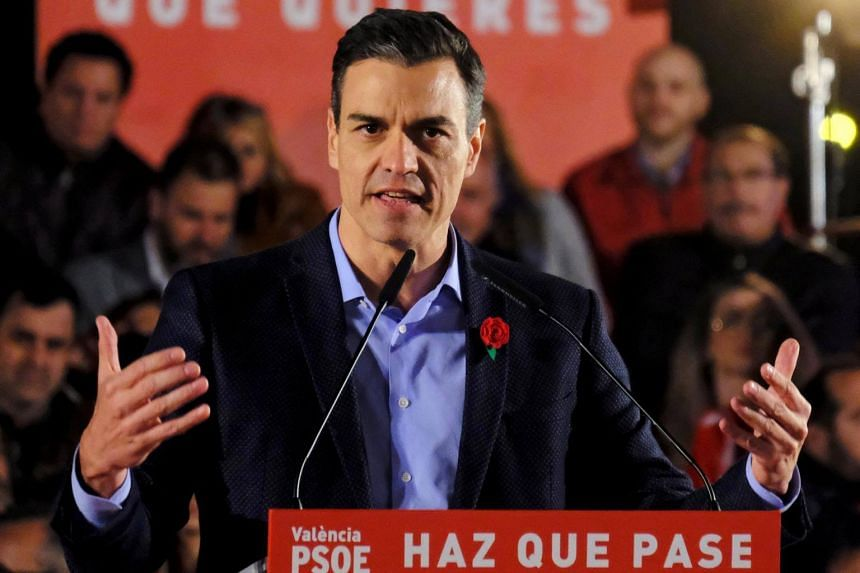 Spain's Prime Minister and Socialist Workers' Party candidate Pedro Sanchez attends an electoral campaign closing rally in Valencia, Spain, on April 26, 2019.