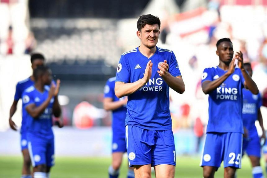 Leicester City players at the final whistle during their English Premier League football match against West Ham United, on April 20, 2019.