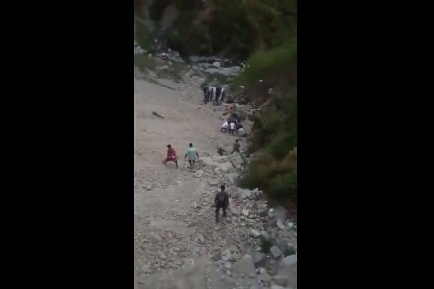 A screenshot from a video of the scene uploaded to social media.