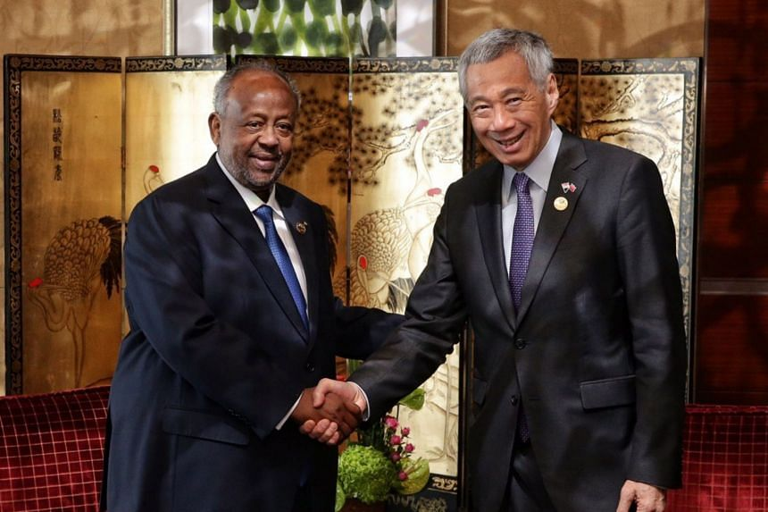 Djibouti President Ismail Omar Guelleh and Singapore Prime Minister Lee Hsien Loong discussed potential cooperation in the areas of urban development, port and maritime development, logistics and digital economy.
