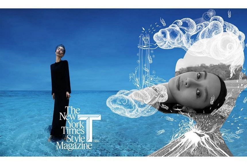 Netizens have said Chinese actress-model Angelababy looks like an alien in a photoshoot by T Magazine.
