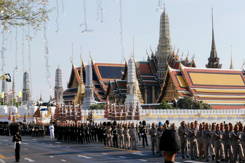 Thai soldiers taking part in a rehearsal for the coronation of Thailand's King Maha Vajiralongkorn, in Bangkok on April 28, 2019.