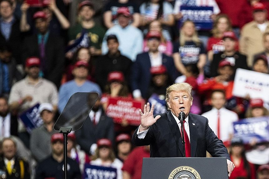 "US President Donald Trump speaking on Saturday night at a rally in Green Bay, Wisconsin, a crucial battleground state in the 2020 elections. The President said he has saved ""countless timber jobs"", including in Wisconsin, by imposing new tariffs."