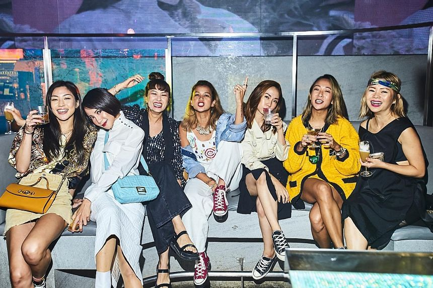 (From left) Singer Narelle Kheng, actress Fiona Xie, creative consultant Tracy Phillips, eco advocate and creative consultant Aarika Lee, entrepreneur Jaime Lee, branding agency co-founder Charmaine Seah and DJ Ginette Chittick at Female's 45th-anniversar