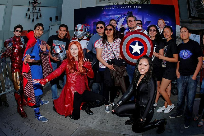Avengers fans at the TCL Chinese Theatre in Hollywood to attend the opening screening of Avengers: Endgame on April 25, 2019.