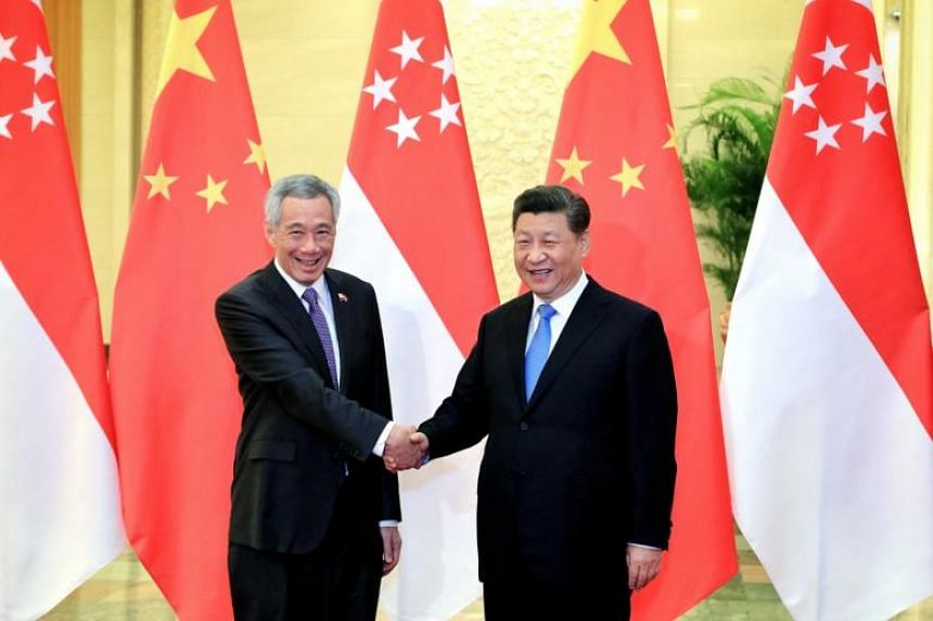 Prime Minister Lee Hsien Loong with Chinese President Xi Jinping at the Great Hall of the People in Beijing, on April 29, 2019.