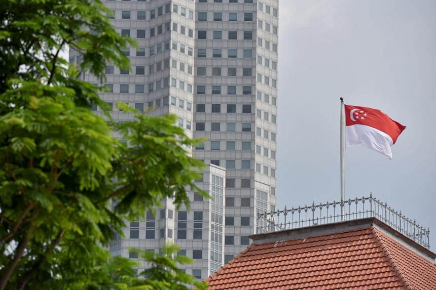 The Singapore flag at The Parliament House, on April 8, 2019.