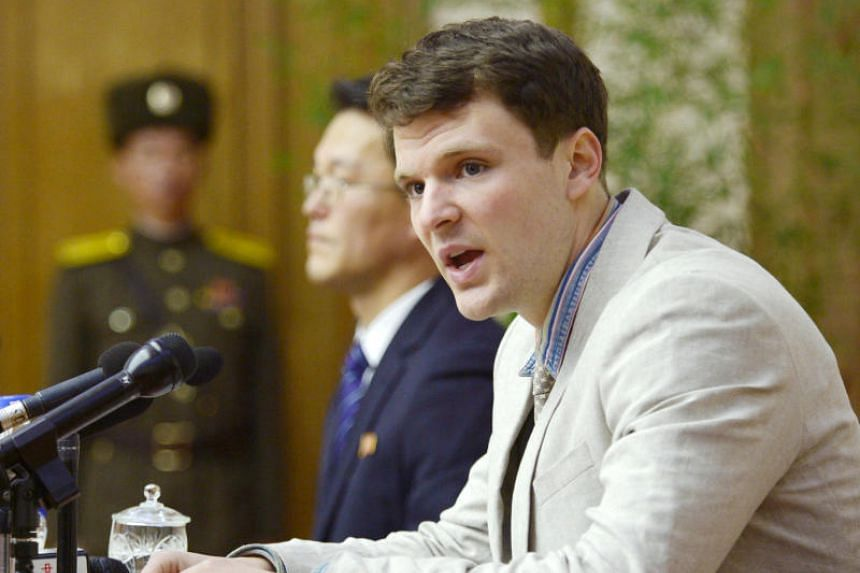 Mr Otto Frederick Warmbier, a University of Virginia student detained in North Korea, at a news conference in Pyongyang, North Korea, in 2016.