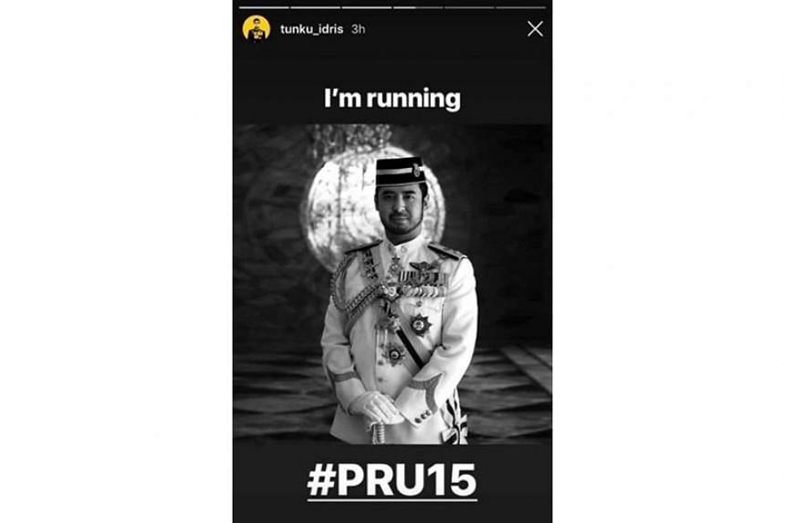 """In an Instagram story, Tunku Temenggong Johor Tunku Idris Iskandar Ibni Sultan Ibrahim posted a black and white picture of himself in formal dress, with the caption """"I'm running #PRU15""""."""