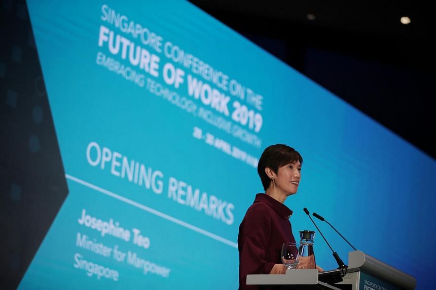 Manpower Minister Josephine Teo speaking at the opening ceremony of the Singapore Conference on the Future of Work on April 29, 2019.