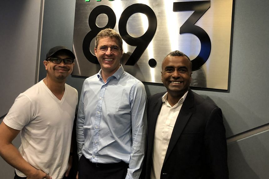 Money FM's Elliott Danker (left) and Brian Fernandez (right) host Dirk‐Peter van Leeuwen, senior VP and GM for Red Hat in Asia-Pacific, as they chat about open-source software.