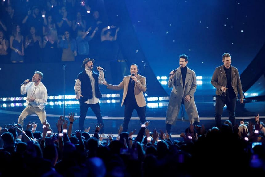 Backstreet Boys performing during the iHeartRadio Music Awards in Los Angeles on March 14, 2019.
