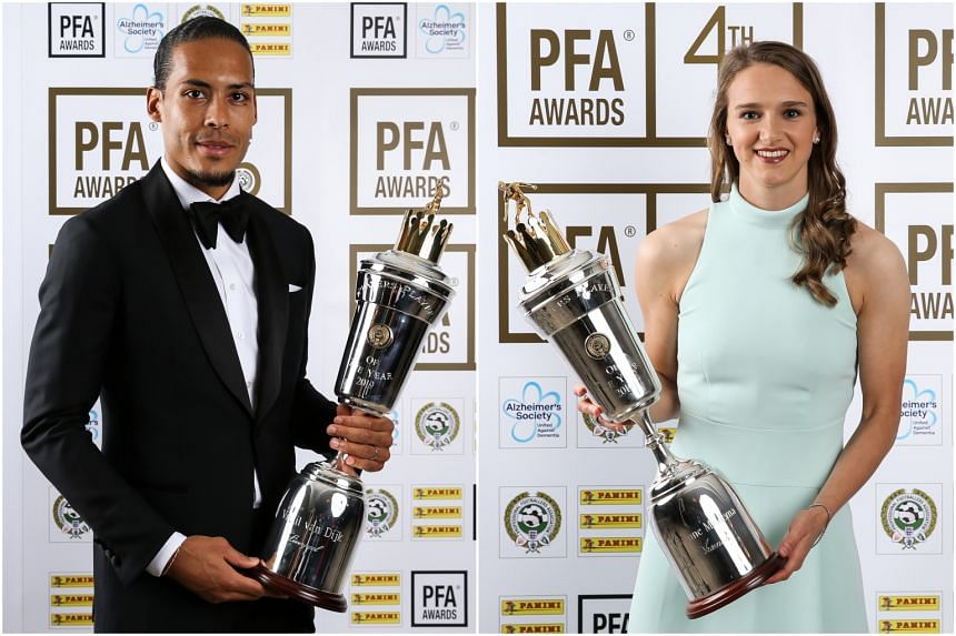 Liverpool's Virgil van Dijk (left) and Arsenal's Vivianne Miedema were named the PFA Players of the Year for 2019.