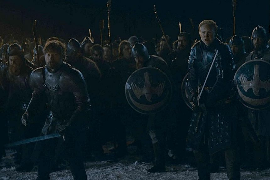 Game Of Thrones' Jaime Lannister (Nikolaj Coster-Waldau, left) and Brienne Tarth (Gwendoline Christie, right) get ready for battle.