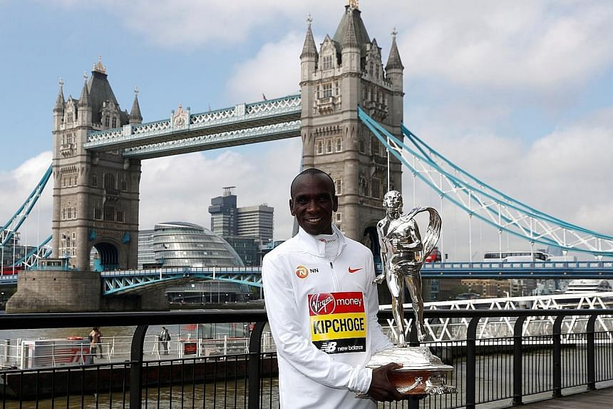 Eliud Kipchoge owns the two fastest times in the marathon. He set the world record of 2hr 1min 39sec last year in Berlin and his winning time at Sunday's London Marathon was 2:02.37, which is No. 2 on the all-time list. PHOTO: REUTERS