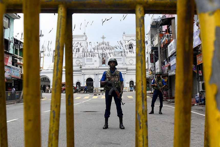 Sri Lankan soldiers stand guard outside St. Anthony's Shrine in Colombo on April 29, 2019, a week after a series of bomb blasts targeting churches and luxury hotels on Easter Sunday in Sri Lanka.