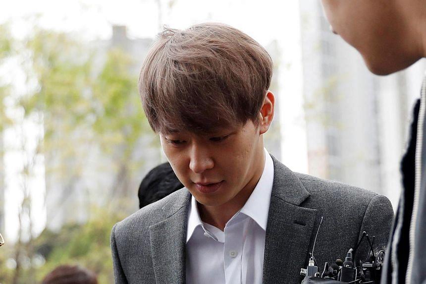 K-pop idol singer Park Yoo-chun arrives at the Suwon district court in Suwon, South Korea, on April 26, 2019.